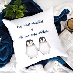 Our First Christmas as Mr & Mrs Penguin Cushion