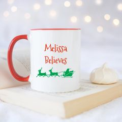 "Personalised ""believes"" mug"