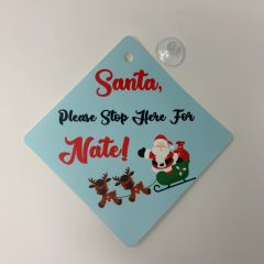 Santa Stop Here Personalised Window Cling