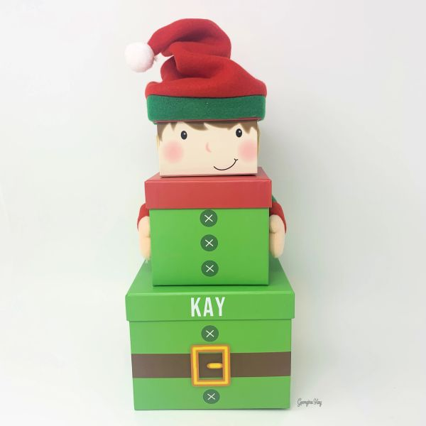 Set of 3 Personalised Elf Christmas Stacking Nested Boxes