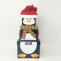 Set of 3 Personalised Penguin Nested Stacking Boxes