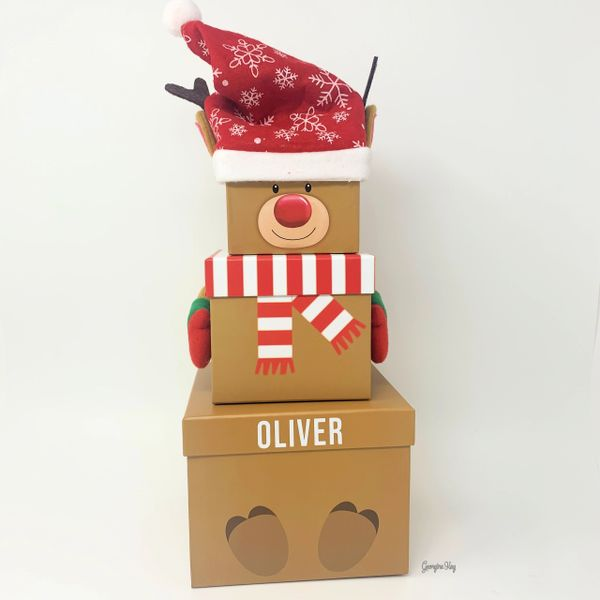 Set of 3 Personalised Reindeer Nesting Stacking Boxes