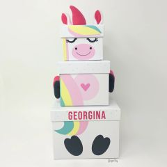 Set of 3 Personalised Unicorn Christmas Eve Stackable Nested Boxes