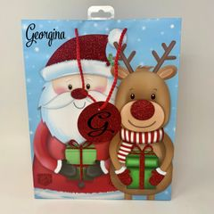 Personalised Santa and Rudolph Gift Bag