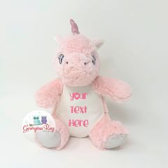 Small Personalised Plush Pink Unicorn