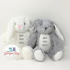 Small Personalised Plush Rabbit (White or Grey)