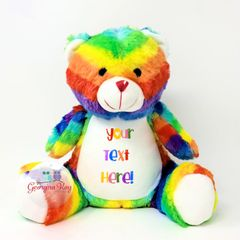 Large Personalised Rainbow Bear