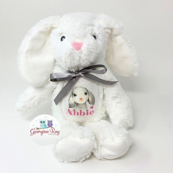 Small White Personalised Bunny with Image
