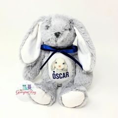 Small Grey Personalised Bunny