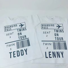 Set of 2 Personalised Twin Holiday Tshirts