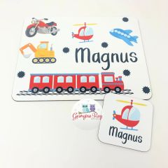 Planes, Trains and Automobiles Personalised Placemat and Coaster Set