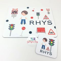 Traffic Lights and Level Crossings Placemat & Coaster Set