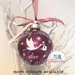 Baby Stork Pregnancy Due Date Announcement Bauble