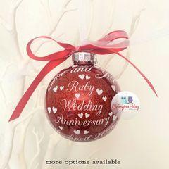 40th Ruby Wedding Anniversary Bauble