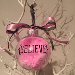 """Believe"" Christmas Bauble (Feather)"