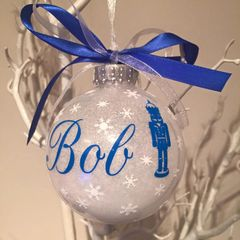 """Nutcracker"" Personalised White Christmas Bauble"
