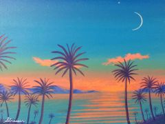 Tropical Twilight - Acrylic on Paper Painting - (Framed)