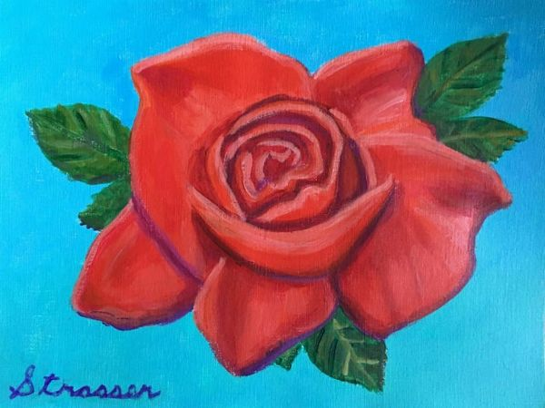 Red Rose  9 x 12   Acrylic on Paper