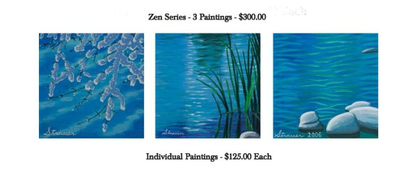 Zen Blue Scenes - 3 Painting Set