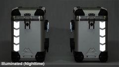 "RK-544B: Black Reflective ""Chevron"" Kit fits Touratech Zega Pro Silver Bags and Black Bags."
