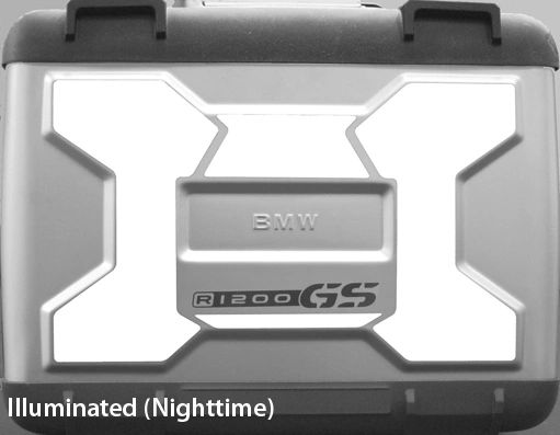 "RK-11X BMW Motorcycle Reflective Kit: -- -- Fits the ""X"" embossed into the lids of the R1200GS (2005-2012) saddlebags"