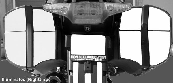 RK-15 BMW Motorcycle Reflective Kit: -- -- Fits the rear of the saddlebags on the R1200RT ('05 - '13) & the K1200/1300GT ('06 - '13)