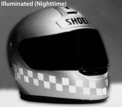 RK-22 Checkered Flag Helmet Reflective Kit: Fits Full-face, flip-up and open-face (3/4) helmets. Use in pre-cut checkered flag strips or customize your design.