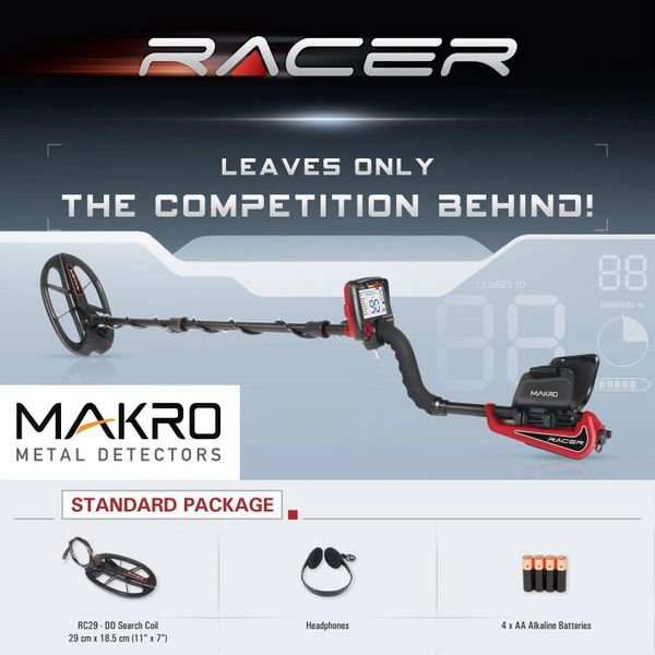"Makro Racer Standard Package Metal Detector with 11"" x 7"" Search Coil"