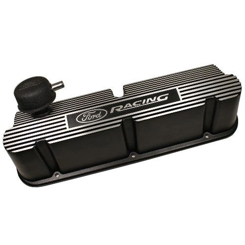 289-302-351W SB FORD RACING BLACK RIBBED ALUMINUM VALVE COVER, M-6582-W351PR