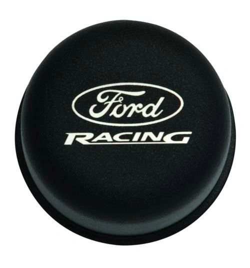 BLACK BREATHER CAP W/ FORD RACING LOGO, M-6766-FRNVBK