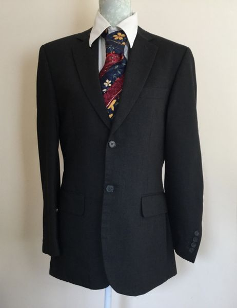 Jeff Banks Dark Charcoal Wool Gentleman's Suit Jacket Size 38 Protective Bag