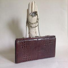 VINTAGE 1970s Brown Moc Crocodile Clutch Shoulder Bag Removable Chain Strap
