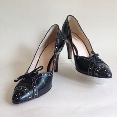 "HOBBS Black All Leather Brogue Patterned Almond Toe Bow Front 3.5"" Slim Heel Court Shoes Size UK 3 EU 36"