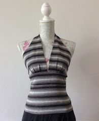Black Grey & Silver 70s Style Stretch Fabric Cropped Halterneck Top