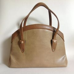 WEYMOUTH AMERICAN 1960s Large Caramel Brown Faux Leather Vintage Handbag
