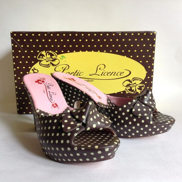 Poetic Licence by Irregular Choice Brown & White Polka Dot Rockabilly 1950s Inspired Mules UK 5 With Original Box
