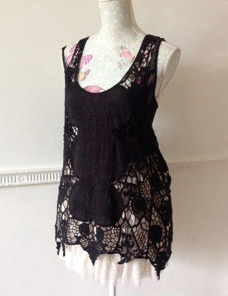 Black Lace Embroidered Cotton Razor Back Long Vest Overtop Variated Hem Line