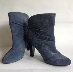 "Evie Dusky Blue Suede 4"" Slim High Heel Pull On Bootie Ankle Boots UK 6 EU 39"