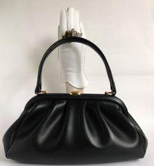 Prova British Home Stores Soft Black Vinyl 1960s Vintage Handbag Fabric Lining