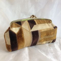 Multi Brown Geometric Patterned Double Sided Kiss Clasp Clutch Purse Faux Suede Lining