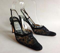 """Emma Hope Black Suede Leather & Lace 3.5"""" Slim Heel Sling Back Shoe Size UK 3.5 EU 36.5"""