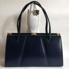 Maclaren Large Beautiful Vintage Handbag Beautiful 1950s Dark Blue Faux Leather Vintage Handbag.