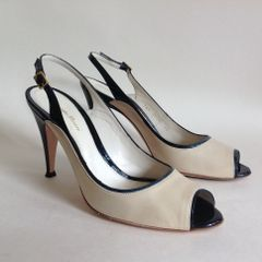 Gianvito Rossi Ivory Leather & Black Patent Slingback Peep Toe Shoe Size UK 7 EU 40
