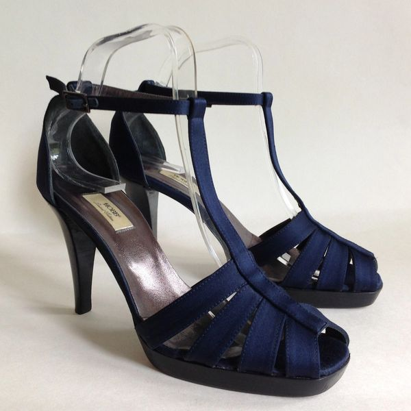 "HOBBS Blue Satin Covered Leather Evening Shoe With 3.5"" Slim Heel, Hidden Platform And T Bar Size UK 4 EU 37"