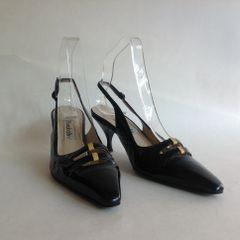 BRUNO BALLIN Black Patent Leather 3 Inch Kitten Heel Slingback Shoes UK 4 EU 37