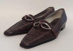 Amalfi Brown Crocodile Print Leather Low Heel Loafer Shoe Size UK 3.5 EU 36.5 US 5.5 - Small tight fit