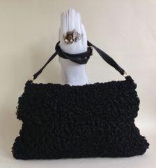 1960s Large Black Vintage Astrakhan And Cotton Velvet Fur Hand Muff Bag With Rear Purse