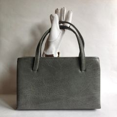 1950s Every Day Grey Textured Faux Leather Vintage Handbag Black Fabric Lining