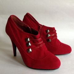 "Rascal Red Faux Suede 4"" Stiletto High Heel Booties Ankle Boots UK 4 EU"