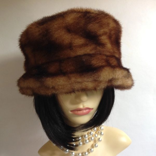 Betmar New York Russian Cossack Style Mink Brown Faux Fur Hat With Fabric Lining One Size